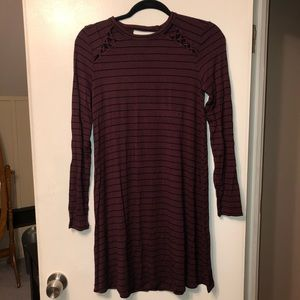 American Eagle Burgundy and black stripped Dress!